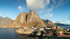 Time lapse - moving clouds over the fishing village of Hamnoy stock video