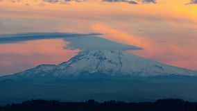 Time lapse of moving clouds over Mt. Hood in Happy Valley OR 4k Uhd stock video footage