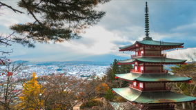 Time lapse of Mt. Fuji with fall colors in Japan. stock footage