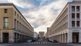 Time Lapse in the neoclassical architecture of the EUR district in Rome, Italy stock video