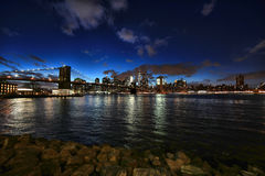 Time Lapse New York City at Night from Across the Husdon River. DUMBO in New York City at Night from Across the Husdon River stock photography
