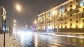Time lapse from night city road. Time lapse from high light avenue in european city stock footage