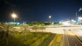 Time lapse of night light road in center of dubai stock video footage
