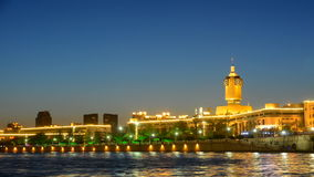 Time lapse Night scene Cityscape of Tianjin railway station (side view) in twilight time. stock video footage
