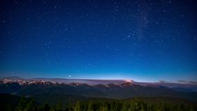 Time lapse of the night sky in the mountains stock footage