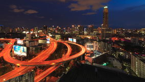 Time-Lapse Night Traffic Fast Motion with Sunsets and Clouds. BANGKOK, THAILAND - September 16, 2016 : Time-Lapse Night Traffic Fast Motion with Sunsets and stock video footage