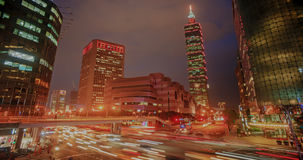 Time lapse of Night view of the Taipei city stock footage