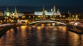 Time lapse of the night view to the Kremlin, Big stock video