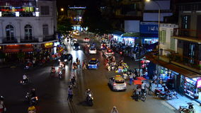 Time Lapse Night View of Traffic Intersection from Above  - Hanoi Vietnam. View from a Caf� in Hanoi stock footage