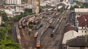 Free Time-lapse Of Old Trains Parking In Rail Yard At Hua Lamphong Train Station In Bangkok City, Thailand. Railway Transportation Stock Photos - 197978043