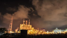 Time lapse of Oil and chemical plant in night time stock video