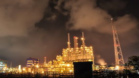 Time lapse of Oil and chemical plant in night time stock footage