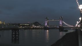 Time lapse. The old bridge at night. stock video