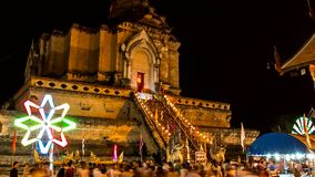 Time lapse of old pagoda with colorful spinning lighting3 Royalty Free Stock Photo