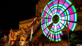 Time lapse of old pagoda with colorful spinning lighting8 Stock Image