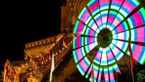 Time lapse of old pagoda with colorful spinning lighting8 Royalty Free Stock Images