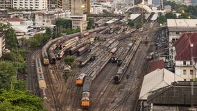 Time-lapse of old trains parking in rail yard at Hua Lamphong train station in Bangkok city, Thailand. Railway transportation