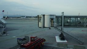 Time lapse at Oslo Airport. Norway. Pan right stock video