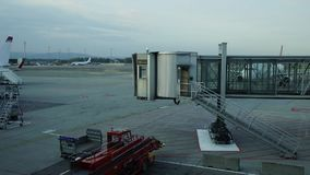 Time lapse at Oslo Airport. Norway. Zoom out stock video footage