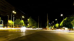 Time lapse ov moving cars in the city in the night. Road and transportation stock video