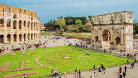 Time lapse over the Colosseum and Arch of Constantine, Rome stock footage