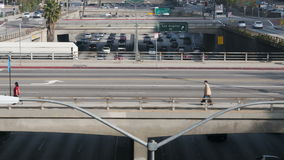 Time Lapse of Overpass on the 101 Freeway in Downtown Los Angeles stock video