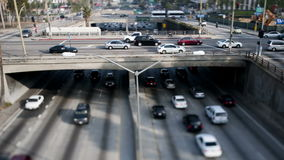 Time Lapse of Overpass on the 101 Freeway in Downtown Los Angeles - Tilt Shift stock video