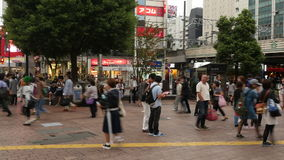 Time Lapse Pan of Busy Shibuya Station & Crossing in Tokyo Japan. Famous Shubuya Station Tokyo Japan stock video footage