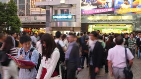 Time Lapse Pan of Busy Shibuya Station & Crossing in Tokyo Japan. Famous Shubuya Station Tokyo Japan stock video