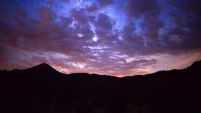Time Lapse Pan of Mountain Range at Night - 4K stock video