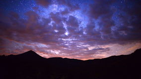 Time Lapse Pan of Mountain Range at Night - 4K. Mountain Range in Central California stock footage