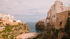 Panoramic view of Polignano. Puglia. Italy. Time-lapse. stock video
