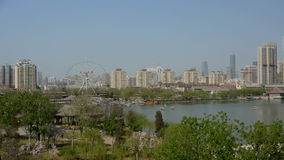 Time lapse Panoramic view of Water park Tianjin China. stock video footage