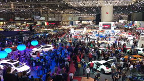 Time Lapse Of People Looking Around Motor Show. stock video