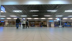 Time lapse of people in a rush in the airport. BULGARIA - DECEMBER 22, 2018 - Time lapse of people walking around the Sofia airport in Bulgaria stock footage