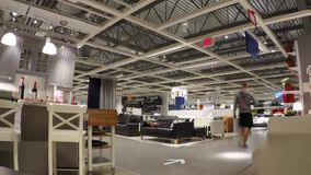 Time lapse of people shopping their furniture  inside Ikea store stock footage