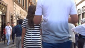 Time lapse with people walking fast on a street in Rome historical center stock video