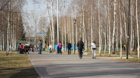 Time-Lapse of Peoples walking in a city park stock video footage