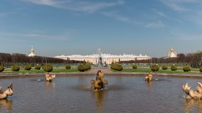 Time lapse Petergof or Peterhof, known as Petrodvorets from 1944 to 1997 and Neptune Fountain . stock video footage