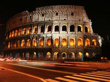 Time Lapse photo at Colosseum. Time Lapse photo of the Colosseum in Rome at night Stock Photo