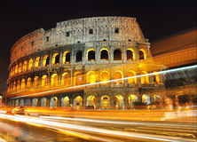 Time Lapse photo at Colosseum. Time Lapse photo of the Colosseum in Rome at night Royalty Free Stock Images