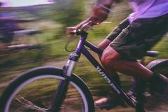 Time Lapse Photo Of Man Riding On Bicycle Royalty Free Stock Image