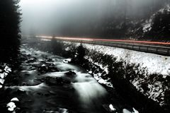 Time Lapse Photo of River Beside Highway during Cloudy Weather Royalty Free Stock Photography