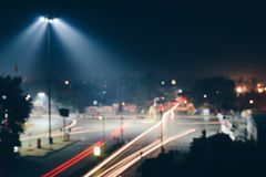 Time Lapse Photo of Road With Red and Yellow Lights Stock Images