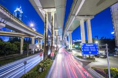 Time-lapse Photo of Speeding Cars in City at Nighttime Royalty Free Stock Photos