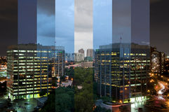 A time lapse photograph of a business centre. Stock Images