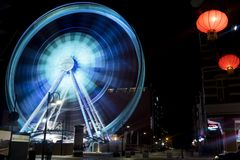 Time Lapse Photography of Blue Lighted Ferries Wheel Stock Photos