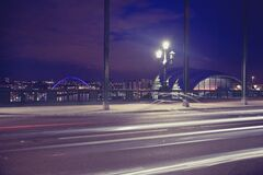 Time Lapse Photography of a Bridge during Night Time Royalty Free Stock Photo