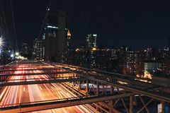 Time Lapse Photography of Bridge at Nighttime stock image