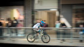 Time-lapse Photography of Man Riding Bicycle Royalty Free Stock Images
